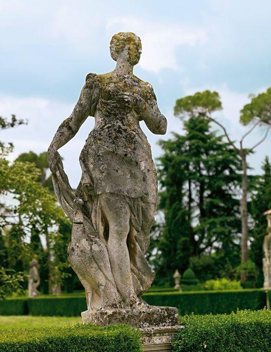 Il giardino di Villa Emo comprende anche la presenza di statue tra bossi e cespugli