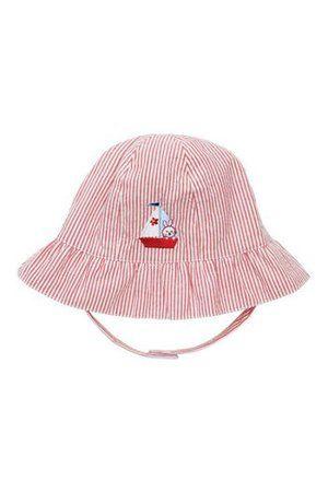Red stripe baby girl's nautical sun hat