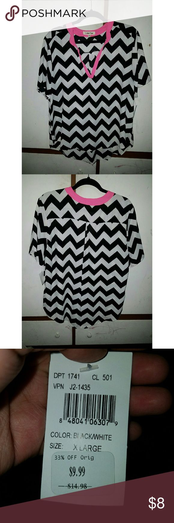 Chevron Blouse Black and white chevron blouse with pink on the collar. Brand new with tags, never worn. Wishful Park Tops Blouses