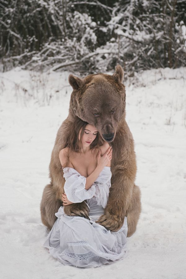 A brown bear hugging she- bear woman by Olga Barantseva - Photo 131754483 - 500px Clothing, Shoes & Jewelry - Women - women's jeans - http://amzn.to/2jzIjoE