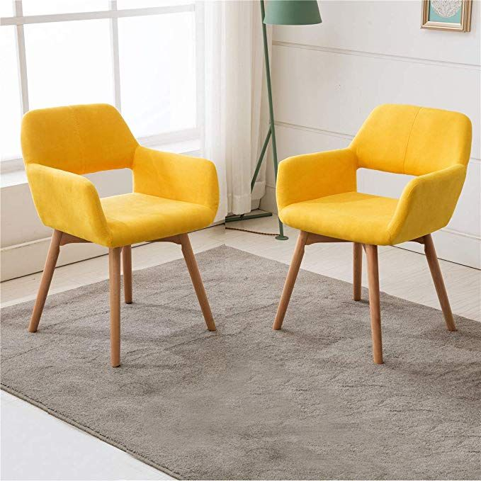Lansen Furniture Set Of 2 Modern Living Dining Room Accent Arm Chairs Club Guest With Solid Wood Leg Dining Room Accents Living Room Chairs Accent Arm Chairs