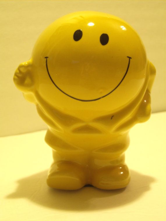 Vintage Smiley Face Man bank yellow Happy Face by GreenOliveShop, $16.00