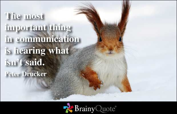 The most important thing in communication is hearing what isn't said. - Peter Drucker at BrainyQuote