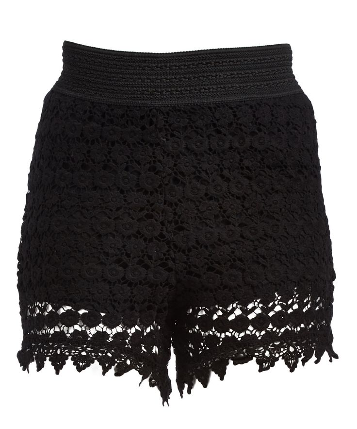 Black Crochet Shorts - Plus