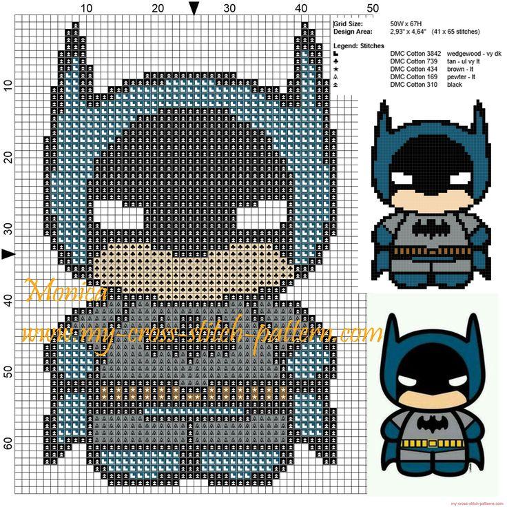Batman chibi patrón punto de cruz