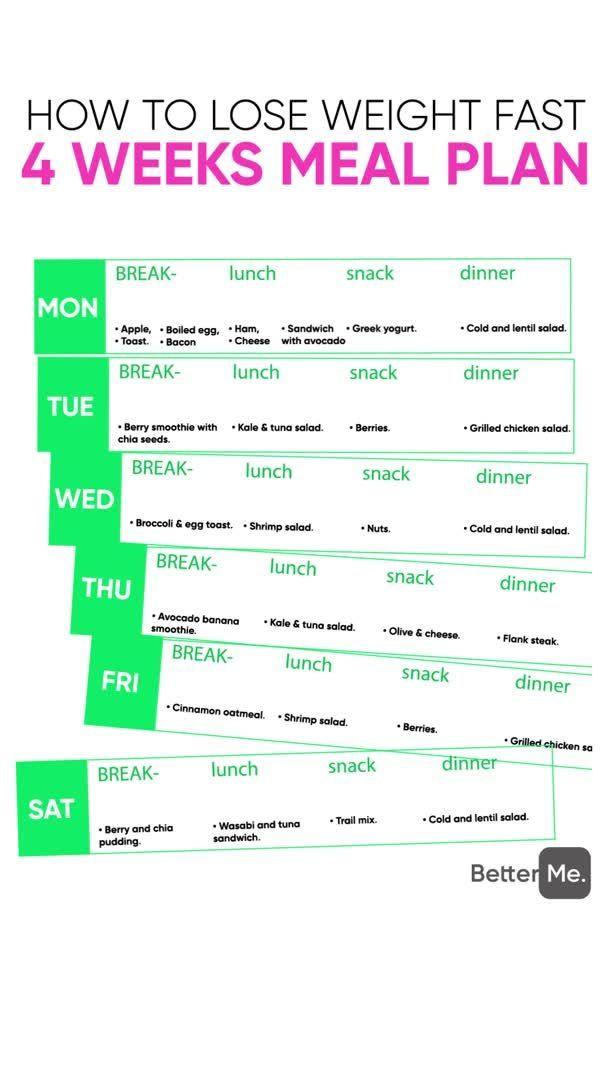 piano pasto settimanale per perdere peso