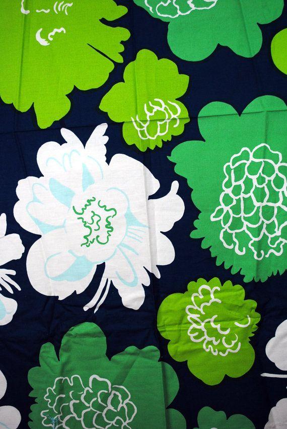 Vintage Marimekko 1970s Cotton Floral Fabric on Etsy, $40.00