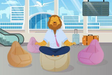 office worker with lion head meditating clipart metaphor