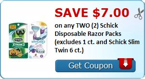 New Coupon!  Save $7.00 on any TWO (2) Schick Disposable Razor Packs (excludes 1 ct. and Schick Slim Twin 6 ct.) - http://www.stacyssavings.com/new-coupon-save-7-00-on-any-two-2-schick-disposable-razor-packs-excludes-1-ct-and-schick-slim-twin-6-ct/