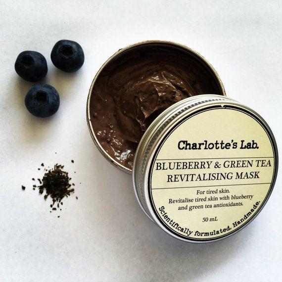 Blueberry & Green Tea Revitalising Mask Handmade  by Charlotte's Lab - Antioxidant face mask for tired skin natural face mask skincare made in Australia