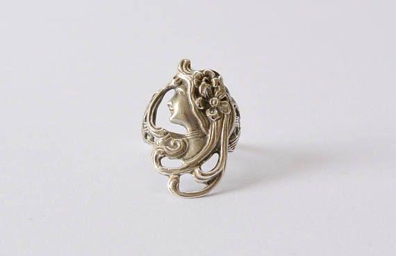 Prachtige Vintage zilver Art Nouveau / Jugendstil Ring sieraden en juwelen met Lady / Woman / godin gezicht en bloemen