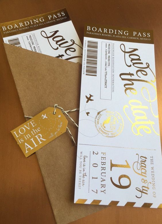 Custom for Taylah Metallic Boarding Pass Save by aLITTLEsmallTALK