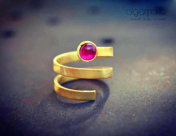 Ruby Ring Spiral Ring July Birthstone by OlgaMaria Jewel Inspirations