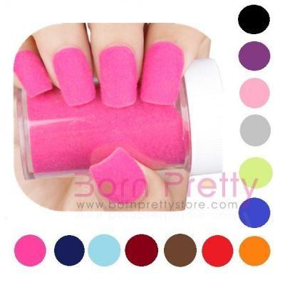 "Fuzzy ""sweater"" nails -- 1pc Fun Flocking Powder Manicure Nail Art Nail Polish- 14 colors"