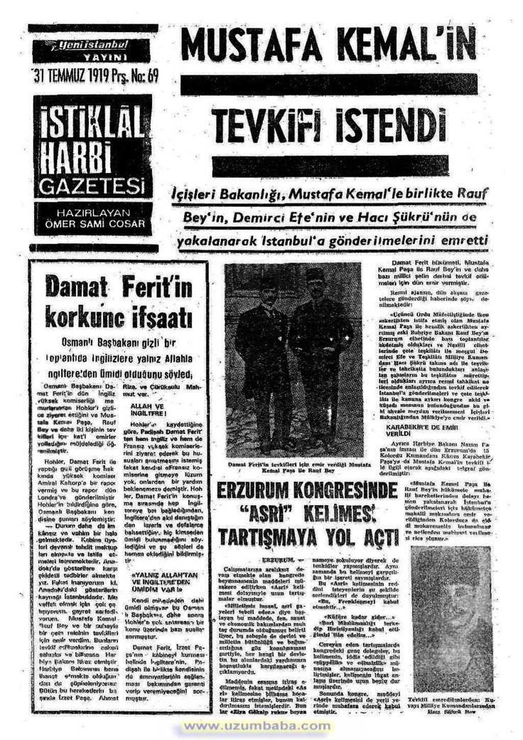 istiklal harbi gazetesi 31 temmuz 1919