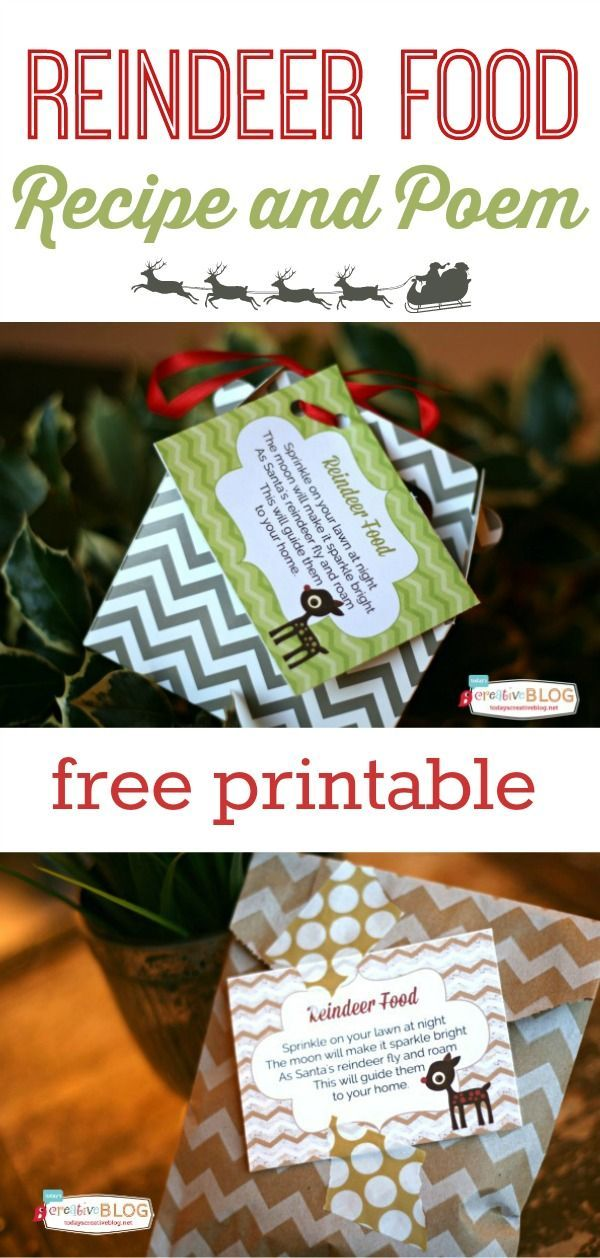 Reindeer Poem and Recipe Free Printable  | Make your own reindeer food with this simple recipe. Great for homemade neighbor gifts. Kids love it! Find the recipe on http://TodaysCreativeLife.com