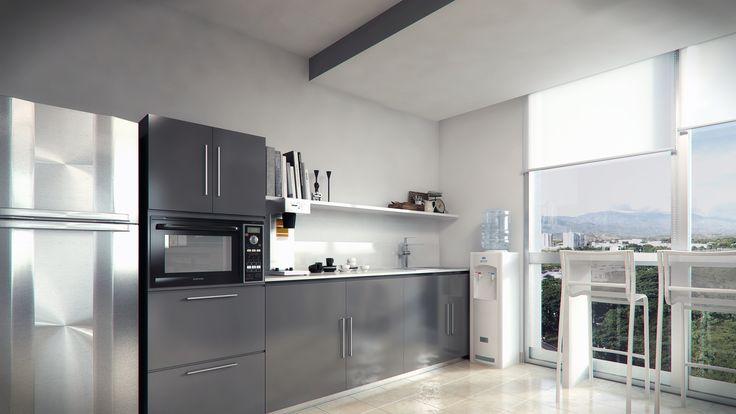 Render Interior Cocina Oficinas - EVA3D