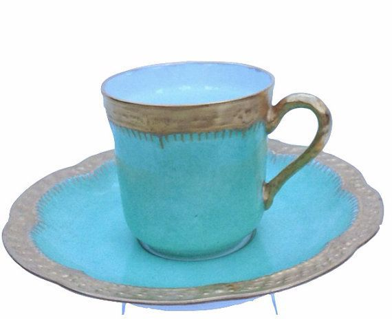 Mint and Gold Vintage Demitasse Cup & Saucer by thevintagelaundry, $20 ...