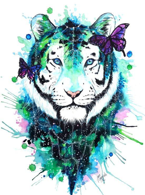 Galaxy tiger Art Print