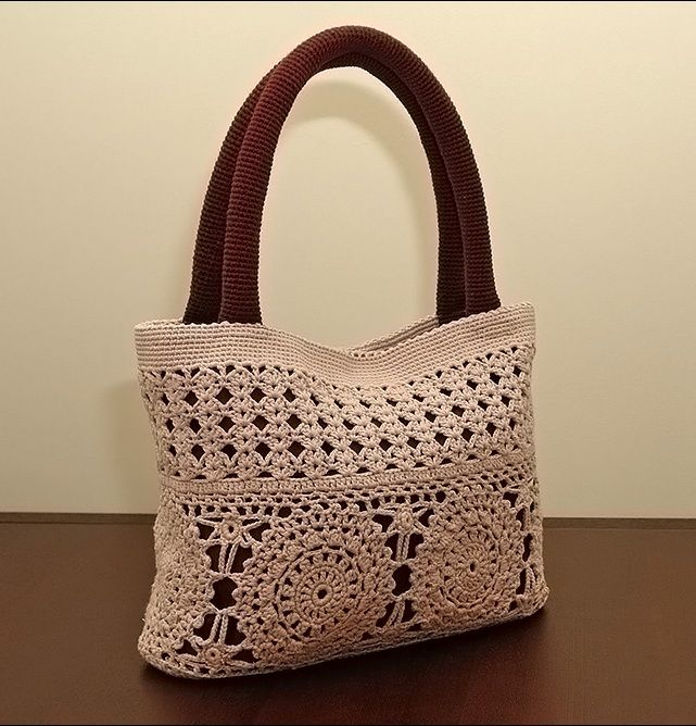 Beige Crochet Bag вязаная крючком сумка 1.  (All in Russian, need to translate.)
