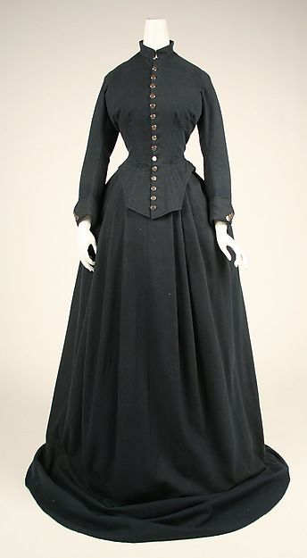 1870 American riding habit. A typical example of women's riding gear, this garment stays true to stringent fashion requirements of the day. Differences show up in the hardware, which has a masculine feel.