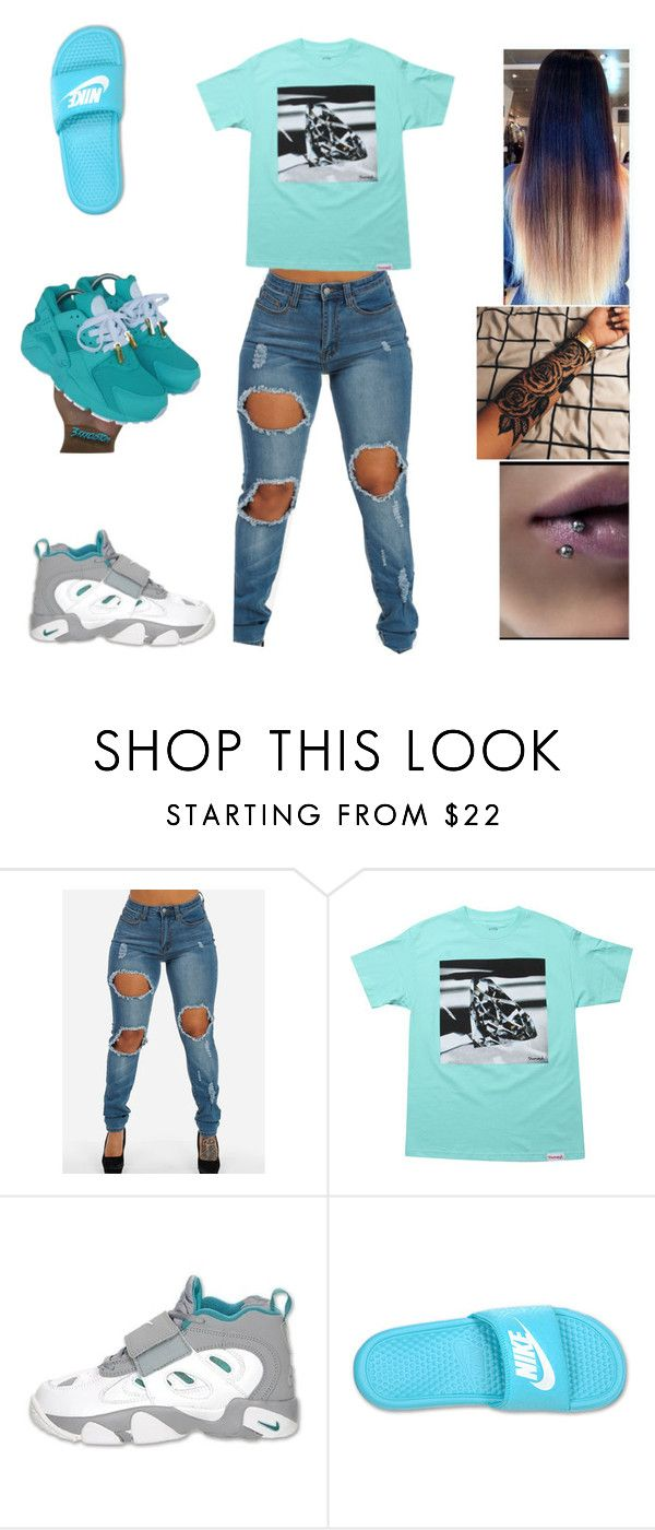 """""""going to school"""" by aleisharodriguez ❤ liked on Polyvore featuring Diamond Supply Co. and NIKE"""