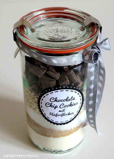 Rezepte mit Herz ♥: Backmischung im Glas : Chocolate Chip Cookies mit Haferflocken