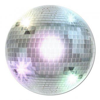 Disco Ball Cut-Out Approx 34cm diameter Design shown in photo One side shiny - One side matt Cardboard A great addition to any 70's party!
