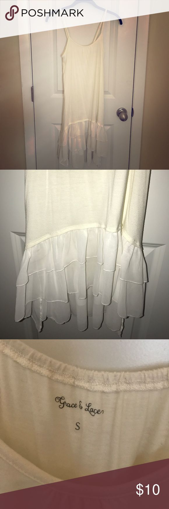 Grace & Lace Chiffon Ruffle Extender Grace & Lace size small with adjustable straps extender! This off white/cream colored cotton and chiffon extender is AMAZING under so many pieces! Only worn once. Great shape! Offers welcome! Tops