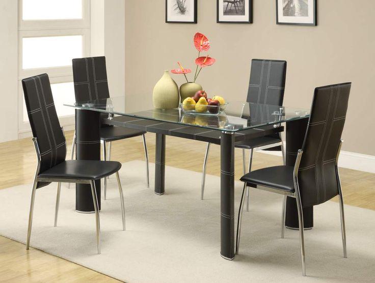 Wilner Black Metal Upholstered Fabric Glass Dining Room Set