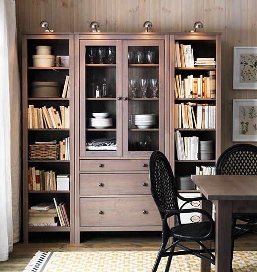ХЕМНЭС шкаф-витрина с 3 ящиками, серо-коричневый