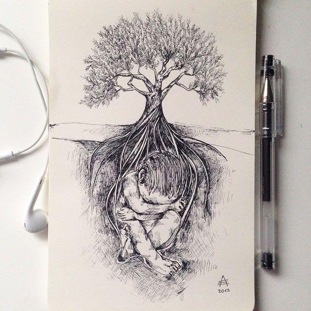 Tree Pen Drawing Tree Pen Drawing Arbre Stylo Dessin Sketch Croquis Nature Child Enfant Racine Roots Pen Illustration Ink Pen Art Art Drawings