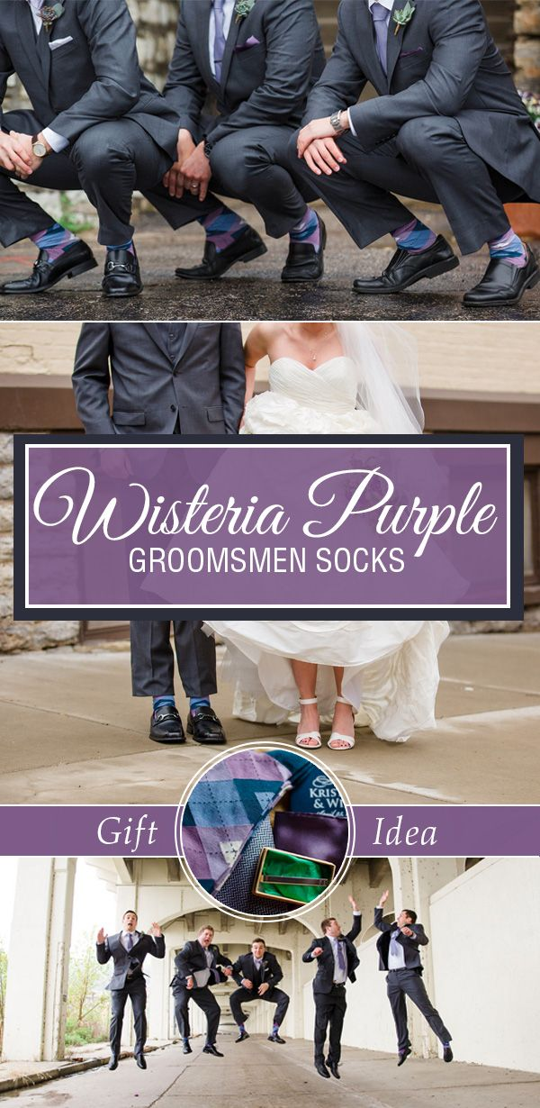 Purple groomsmen socks are a great way to coordinate a wedding party. Not only are socks the perfect gift for groomsmen, but they provide just the right amount of accent color to match the bridesmaids. Shop these Wisteria Purple socks and other great purple socks.