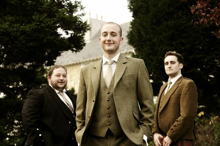 The Groom and Best Men just before the wedding service at House for an Art Lover, Glasgow.