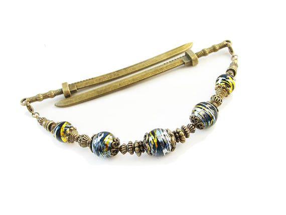 Japanese katana hair sticks with black silver gold beads