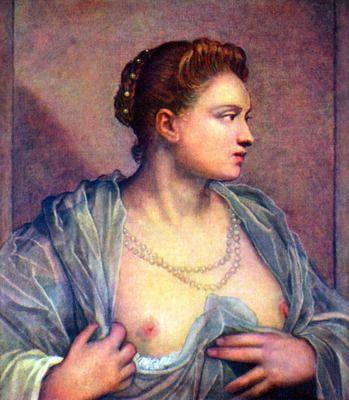 Portrait of a woman with bare breasts by Tintoretto. Order from DEKORAMI as a poster, canvas print, mural. Zamów jako obraz na płótnie, plakat lub fototapetę na DEKORAMI.pl
