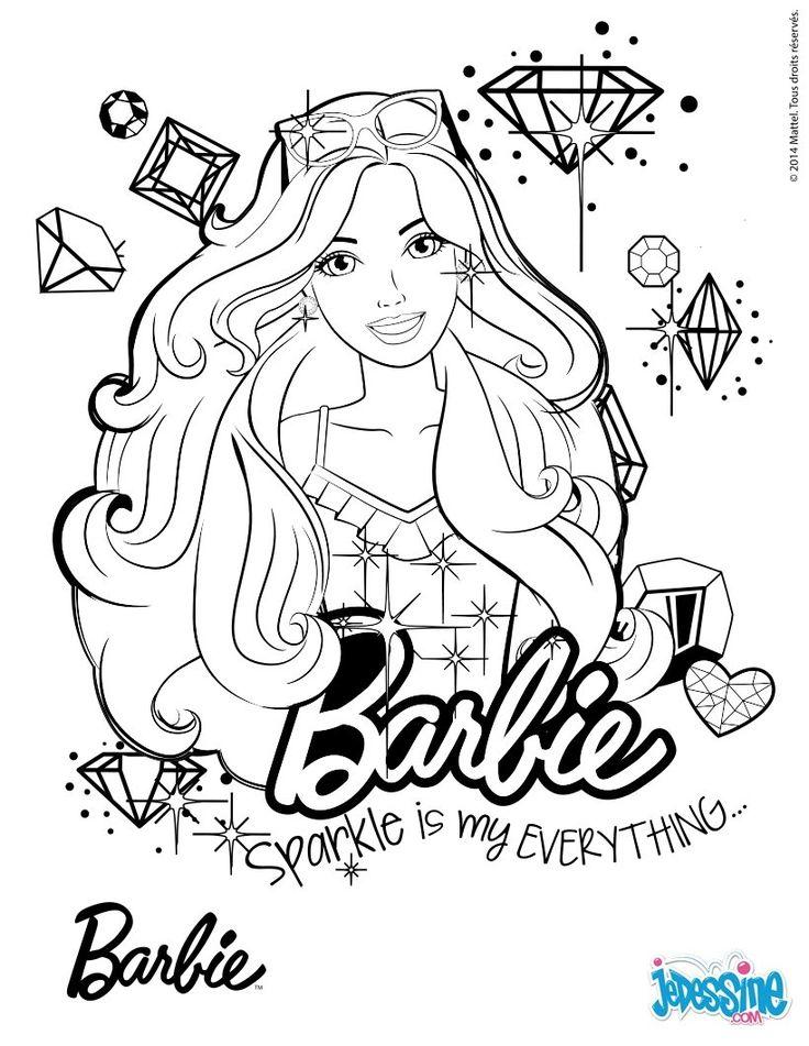 Portrait de Barbie à colorier. À imprimer gratuitement ou colorier en ligne sur hellokids.com ...