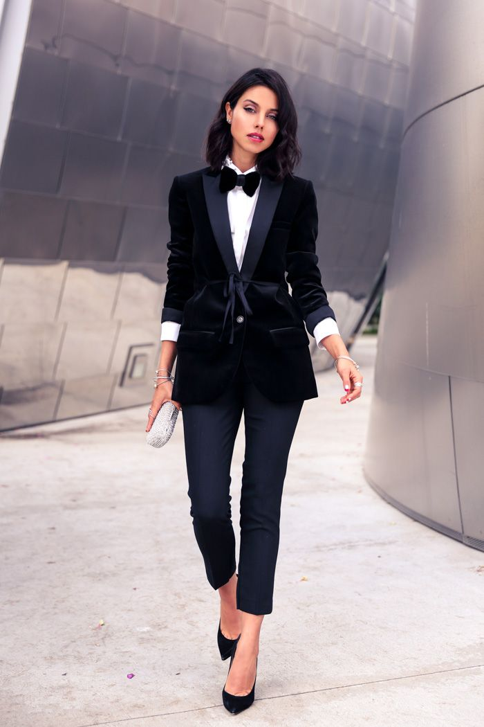 tuxedo blazer with cropped pants and bow-tie