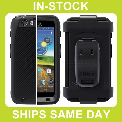 Otterbox Defender AT Motorola Atrix HD Case Cover with Built-In Screen Protector and Belt Clip Holster - Black