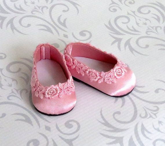 Pretty in Pink Doll Shoes Satin Ballet Flats by SewFunDollClothes. For purchase.