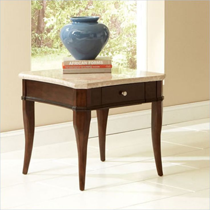 Beautiful Steve Silver Company Marseille Marble Top End Table In Poplar   MS550WE    Lowest Price Online