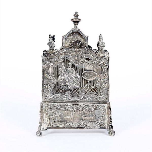 Dutch silver Rococo style repousse tea caddy; late 19th Century.