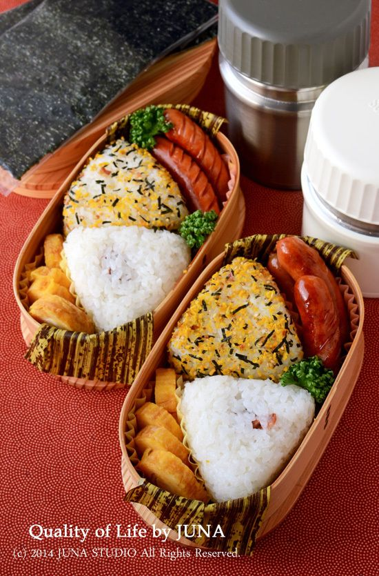 Japanese Onigiri (Rice Ball) Bento | Sausages, broccoli, tamago, umeboshi and noritama onigiri.