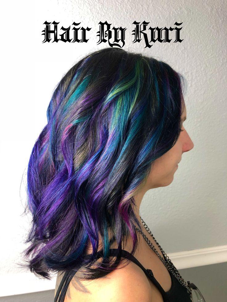 🕳oilSlick #hairbykuri #hairskillzover9000 #oilslickhair #neonhair #pulpriot #haircuts #hair #hairstyles #neon #pink #purple #velvet #jam #nightfall #hairstylist #seminole #florida #seminolestylist #727 #727stylist #pinellasstylist @cosmoprofbeauty @modernsalon @olaplex @pulpriothair @behindthechair_com