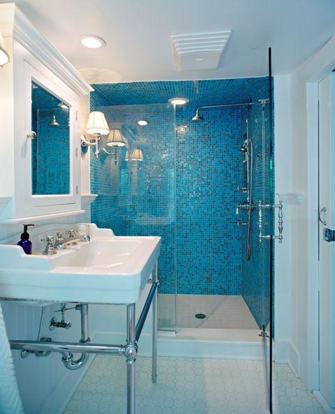 Blue Glass Shower Tile 29 best bathroom images on pinterest | glass tiles, bathroom ideas