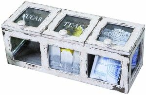 Tea Coffee Sugar Sets:Creative Co-op Farm Life Coffee/Tea Bin, 16-Inch, Distressed White Wood