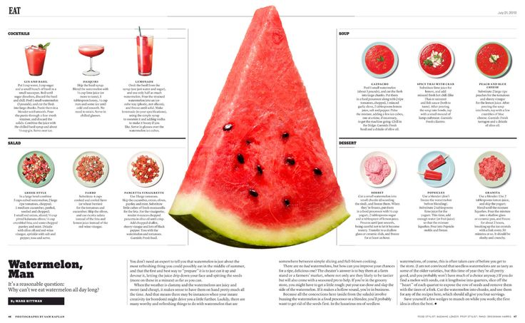 New York Times Magazine: Watermelon, Man. Food styling by Suzanne Lenzer. For…