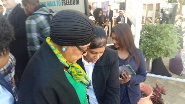 Winnie Madikizele Mandela attending the AG Mobile Freedom device launch. Supporting the #freedom2learn project