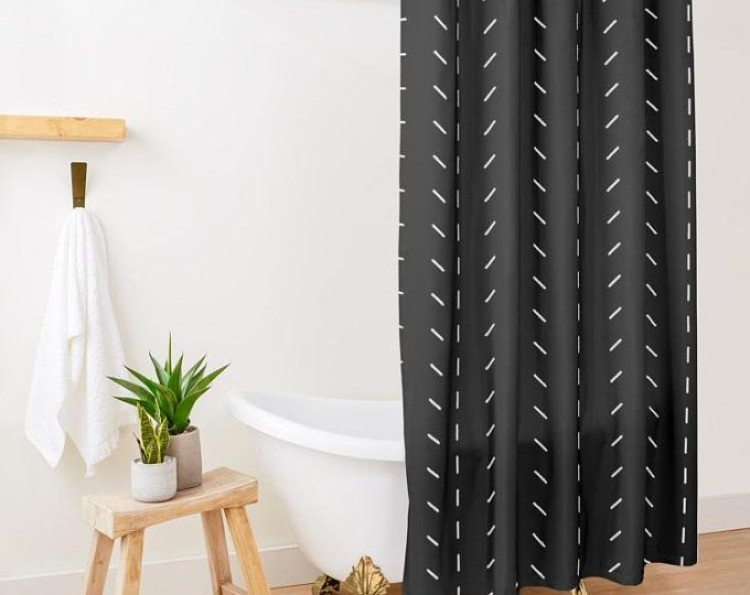 Modern Minimalist Black And White Boho Shower Curtain Perfect For Small Bathrooms I White Shower Curtain Bathroom Decor Apartment Small Modern Shower Curtains