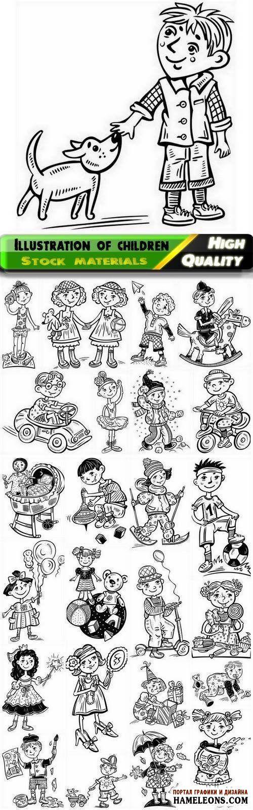 Веселые мальчики и девочки - иллюстрации для книжки-раскраски в векторе | Illustration kid and children